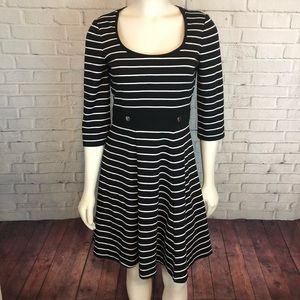 WHBM Dress Black White Striped Fit & Flare Holiday